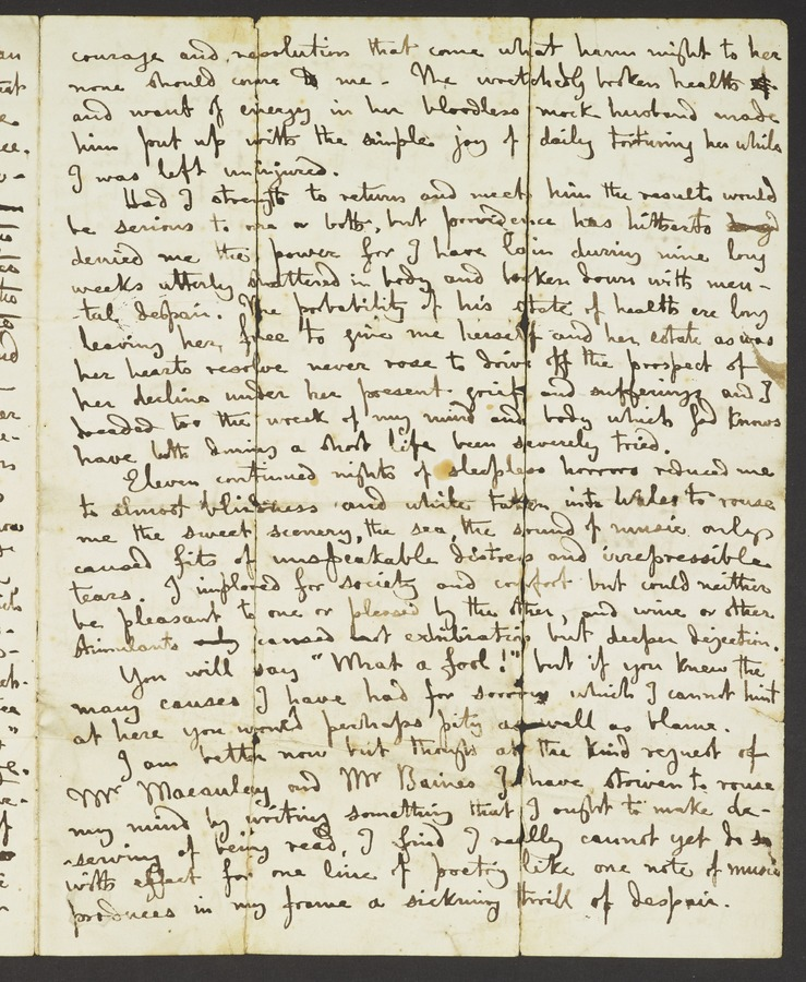 #3 Letter to a Mr Grundy commenting upon his illness and his affair with Mrs Gisbourne. Addressed from 'Haworth, Bradford, Yorks'