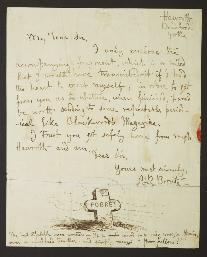 #1 Letter addressed from 'Haworth, Bradford, Yorks'; letter bearing broken seal; illustrated with a pen and ink sketch of a cross bearing the word 'Pobre'