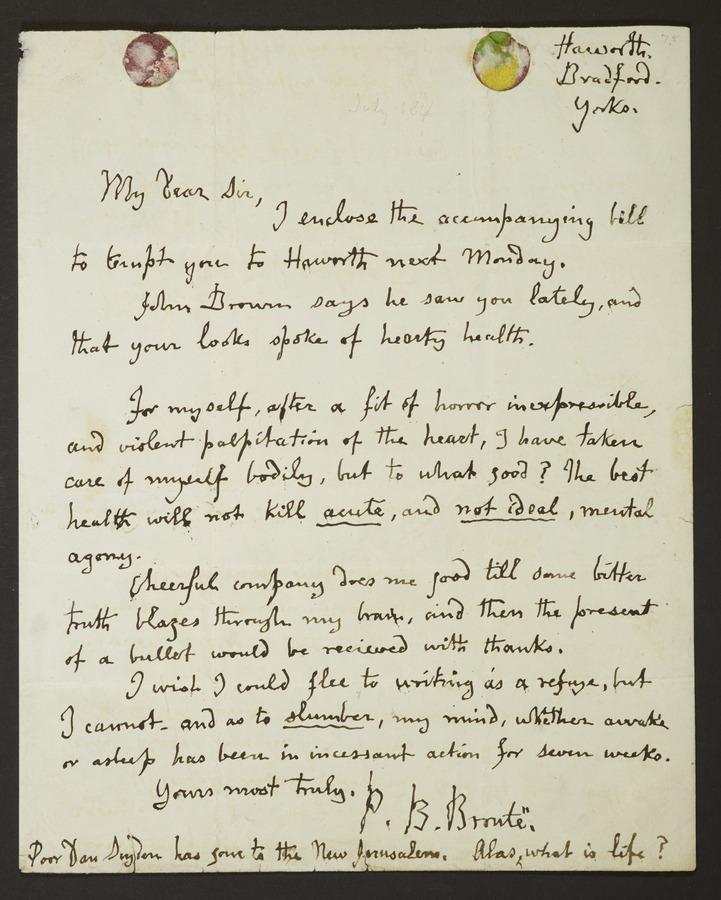 #1 Letter addressed from 'Haworth, Bradford, Yorks'