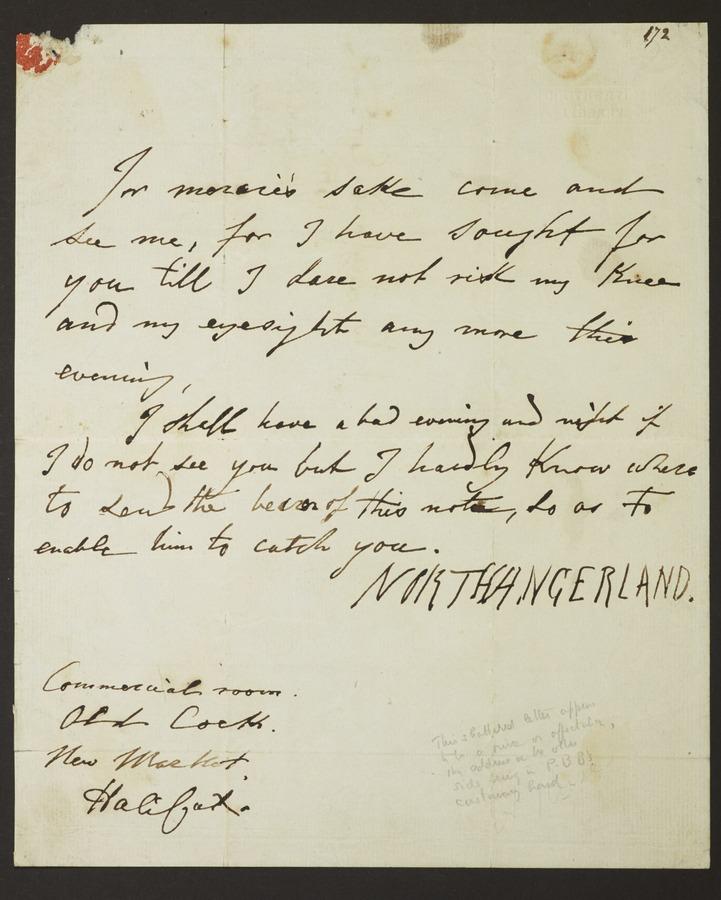 #1 Letter signed 'Northangerland'.