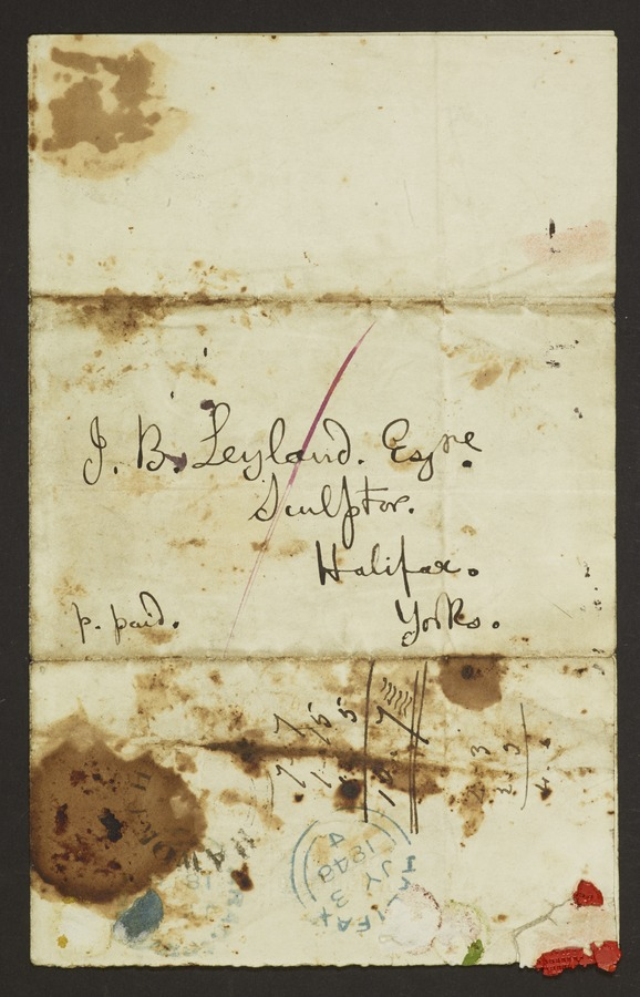 #2 Letter addressed from 'Haworth, Bradford, Yorks'; letter bearing signs of seal and two post marks, Haworth and Halifax