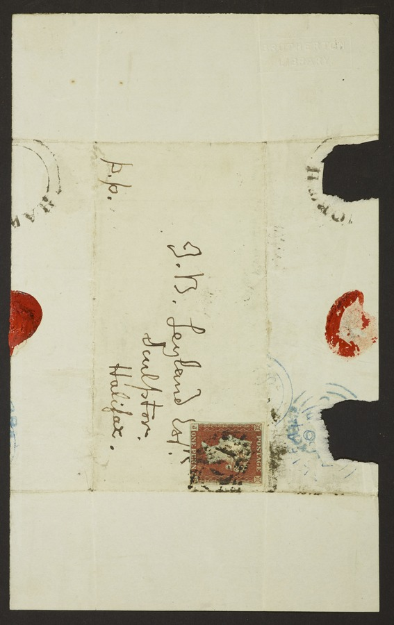 #3 Letter addressed from 'Haworth, Bradford, Yorks'; letter bearing remains of seal, Bradford and Halifax post marks and penny postage stamp